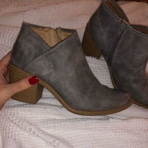 Gray ankle high booties